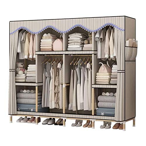 Portable Clothes Closet Wardrobe Storage Organizer with Oxford Breathable Fabric,Easy To Assemble Strong Durability Apartment Bedroom Clothes Closet Organizer