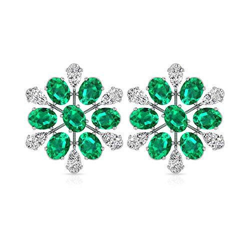 Orecchino a perno da 3,08 ct con diamante smeraldo certificato IGI, ovale a forma di pera, orecchino da donna, orecchino a fiore, con gemma di diamante, 18K Oro bianco, Paio