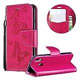 Wallet Brieftasche für Huawei P20 Lite,Gurt Leder Handyhülle für Huawei P20 Lite,Moiky Ziemlich Jahrgang Heiß Rosa Schmetterling Geprägt Klappbar Stoßdämpfende Stand Handytasche -