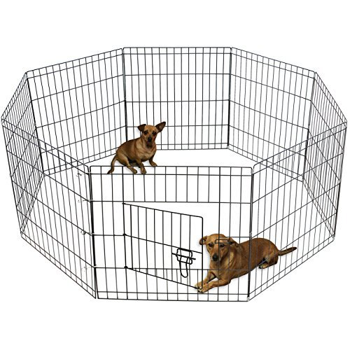 Dog Exercise Pen Pet Playpens for Small Dogs - Puppy Playpen Outdoor Back or Front Yard Fence Cage Fencing Doggie Rabbit Cats Playpens Outside Fences with Door - 24 Inch Metal Wire 8-Panel Foldable
