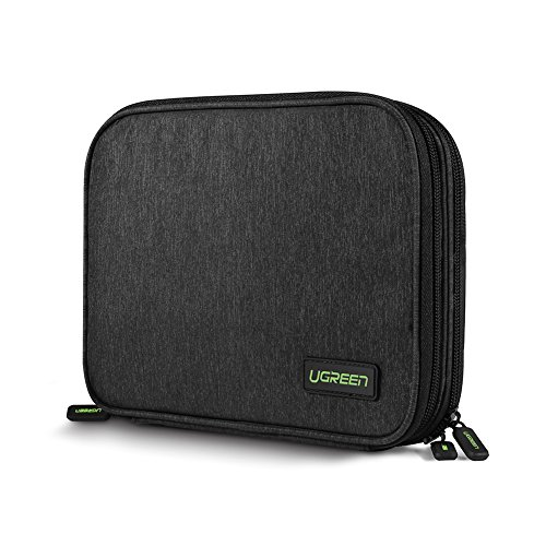 UGREEN Travel Cable Bag Organiser Electronics Gadget Tidy Case Wire Accessory Tech Pouch Cable Storage With Double Layer for Hard Drive, iPad Mini, Power Bank, Charger, Earphone, U Disk, SD Card