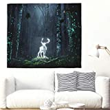 Yhjdcc Fairy Tale Golden Deer Forest Night Fantasy Wall Hanging Tapestry Beautiful Elk God Fog Forest Tapestry Magic Animal Nature Wall Ceiling Dorm Wall Decor 150cm x 200 cm