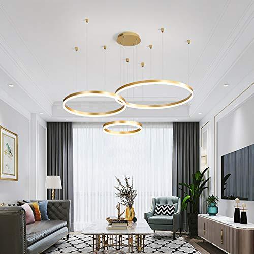 LED Esstischlampe Pendelleuchte Kronleuchter Wohnzimmer Dimmbar Mit Fernbedienung Modern Kreativ Pendellampe Ring Rund Aluminium Acryl Deckenleuchte Esszimmer Hängelampe,Gold,3laps40+60+80cm
