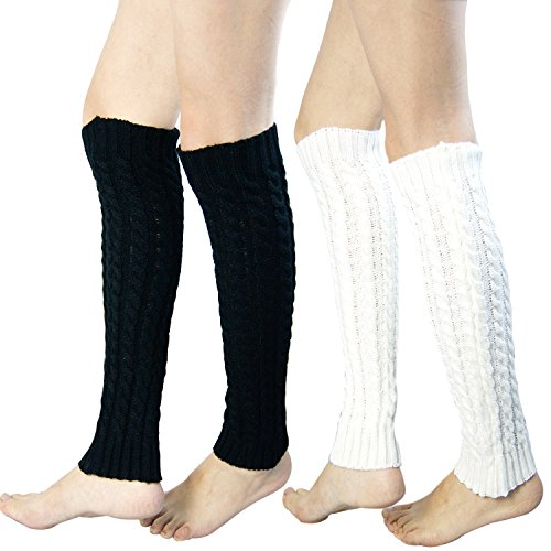 2 Pack of Womens Cable Knit Leg Warmers Knitted Crochet Long Socks (one size, 2 Pair(gray+black))
