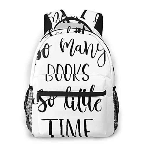 Zaino da viaggio per laptop,citazione ispiratrice Modern Brush Lettering Print di così tanti libri così poco tempo,Zaino per scuola universitario resistente all'acqua di grandi dimensioni e antifurto