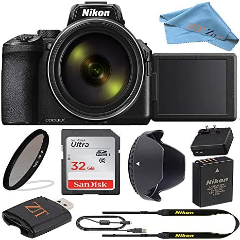 Nikon COOLPIX P950 Digital Camera (26532) with 83x Optical Zoom Lens and SanDisk 32GB Memory Card and Built-in Wi-Fi & Bluetooth and ZeeTech Accessory Kit (Black) (Starter Bundle)