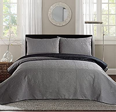"""New Oversize 108"""" X 95"""" (California) CAL KING Bed Luxury 3-piece Reversible Bedspread Coverlet set Solid Embossed Bedding"""