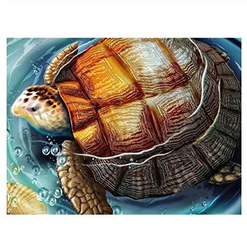 5D DIY diamante pintura bordado mosaico punto de cruz decoración del hogar Arte Tortugas marinas Rey Piedras Decoración de la pared Tortuga Animal 40x50 CM