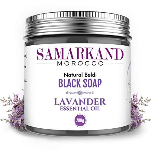 Schwarze Seife aus Marokko mit Lavendel 100% Natürlich Beldi für Hammam – Das Original Marokkanisch 200 gr