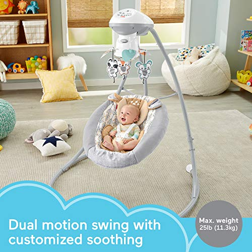 Fisher-Price Fawn Meadows Deluxe Cradle 'n Swing, dual motion baby swing with music, sounds, and motorized mobile [Amazon Exclusive]