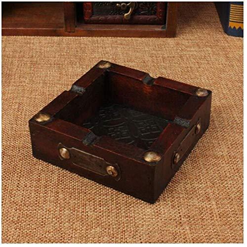 HUIQ® Tragbare Aschenbecher Praktische Boutique Vintage Holz Aschenbecher Zigarette Zigarre Handgemachte Tabak Holzkiste Zigarettenetui für das Rauchen Bequemlichkeit