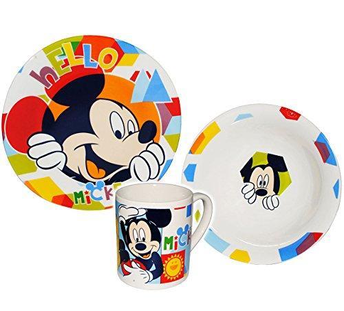 alles-meine.de GmbH 3 TLG. Geschirrset -  Disney - Mickey Mouse  - Porzellan Keramik Trinktasse Kind Kinder - Frühstücksset / Kindergeschirr Geschirr für Kinder - Micky Playhou..