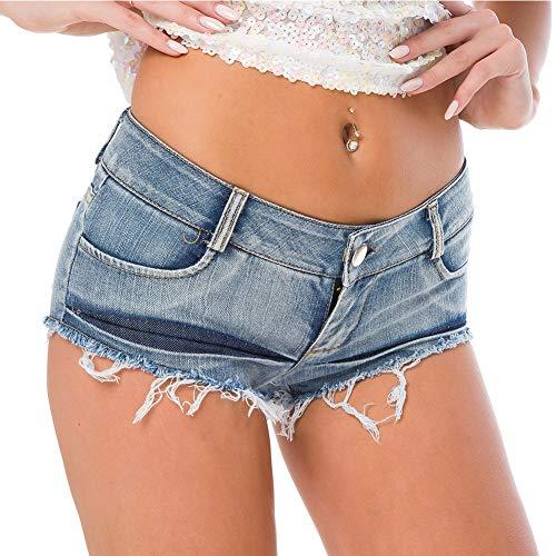 FEOYA String Jeans Shorts Sexy Clubwear Nacht Club Hotpants Denim Sexy Kurz Blau Hotpants Frauen Jeans Low Waist Sexy Hotpants Damen Jeansshorts Damen Kurz Beachshort S
