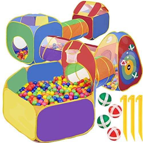 7 Piece Play Tunnel And Tent For Kids | With 4 Dart Balls | Kids Baby Ball Pit For Babies Playhouse For Toddlers Boys Girls | indoor playground for toddlers | Play tunnel For Kids | Balls Not Included