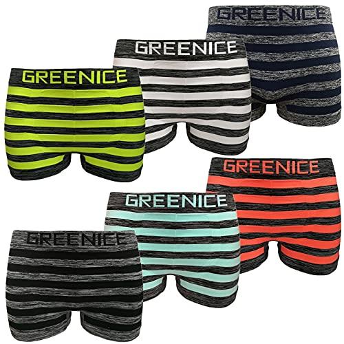 Greenice 6er Pack Herren Boxershorts Microfaser Seamless Retro Unterwäsche Unterhose (XL/XXL, Set 1)