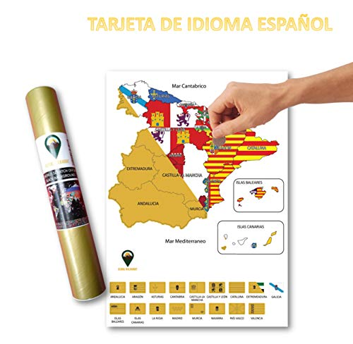 Global Walkabout ESPAÑOL - Mapa de scratch de regiones de países españoles con fondo de banderas - Regalo De Viaje (White)