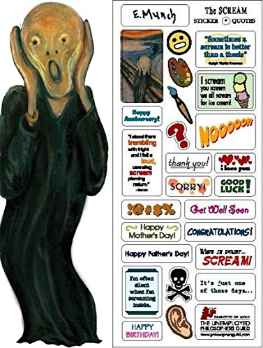 Edvard Munch's The Scream Quotable Notable - Die Cut Silhouette Greeting Card and Sticker Sheet