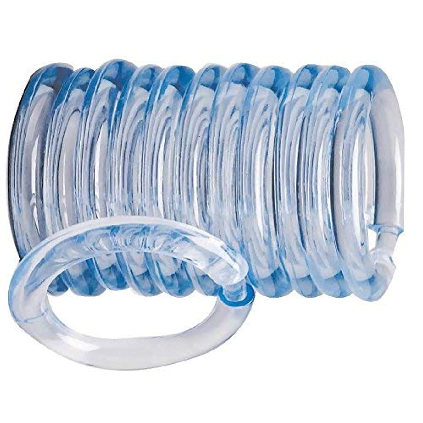 Rocky Mountain Goods Plastic Curtain Rings - 12 Pack - Click securely in place - Unbreakable plastic with - True O ring design - Slides easily without screeching like metal (Clear)
