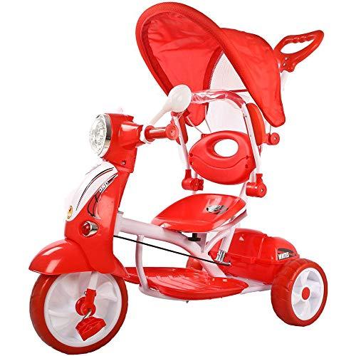 Moto Triciclo a Spinta con Pedali Trico Special Rossa Per Bambini