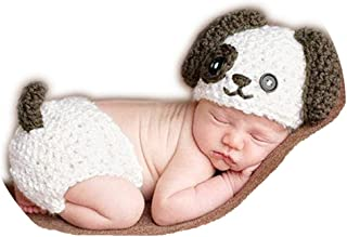 Coberllus Baby Newborn Photography Props Cute Dog Handmade Crochet Knitted Unisex Baby Cap Outfit