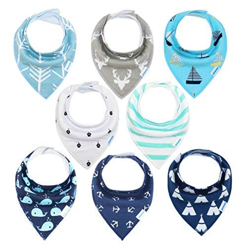 Yoofoss Baberos Bandana Bebé, Baberos Absorbente y Suave de Algodón Orgánico Baberos Bebé Recien Nacidos y Niños Entre 1-3 Años (Muchachos)