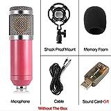 Micrófono de computadora Micrófono de sonido de condensador con cable de 3.5 mm con montaje de choque para grabación Braodcasting talla única rosa con caja