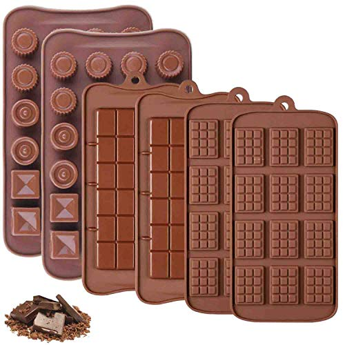 Iindes 6PCS Silicone Chocolate molds, 3 Types of Break-Apart Chocolate molds Made of Food-Safe Non-Stick Silicone (Chocolate)