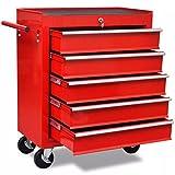 vidaXL Chariot à Outils d'Atelier Rouge 5 Tiroirs Coffret Caisse à Roulettes