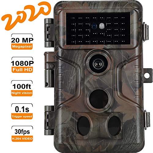 [2020 Neu] 20MP 1080P Wildkamera 100Ft Nachtsicht 0.1s Triggergeschwindigkeit für Jagd Waldüberwachunt Forschung H.264 Video mit Tonaufnahme
