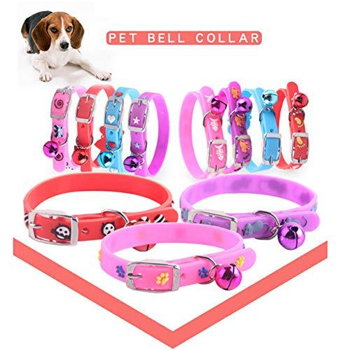 Schattig visgraat hart patroon hond puppy huisdier kraag verstelbare ketting met bel - Willekeurige kleur, 1size, Willekeurige kleur