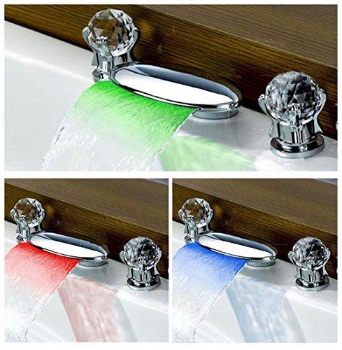 Xie (complète en cuivre contrôle de température Changement de couleur LED cascade lavabo robinet chaude et froide Cristal double Chrome Robinet