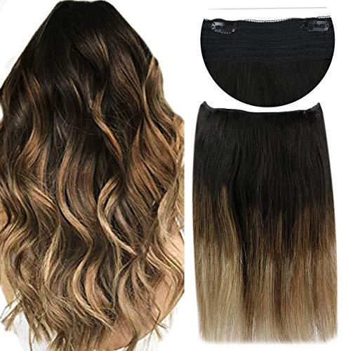 Sunny 20inch 100g Balayage Secret Halo Hair Extensions One Piece Straight Human Hair Natural Black Fading to Dark Brown with Caramel Blonde Remy Wire Hair Extensions