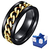 Personality Fidget Rings for Men, Male Punk Spinner Ring 8mm Titanium Tungsten Carbide Stainless Steel Bands Wedding Engagement Promise Rings, Gift Wrapped (Gold, 8)