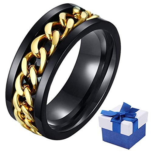 Anillos de personalidad para hombres, punk spinner de 8 mm de carburo de tungsteno de titanio y acero inoxidable, anillos de compromiso, envueltos para regalo Dorado
