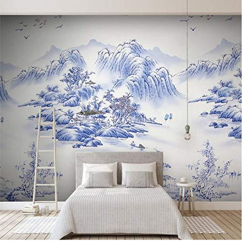 Dalxsh Enorme landschap blauwe en witte porseleinen tegels fotobehang aangepaste groot fotobehang Green Wallpaper 120 x 100 cm.
