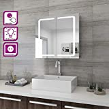 SONNI LED Spiegelschrank 2türig 70 x 65 x13cm Badezimmerspiegel wandschrank Badschrank mit...