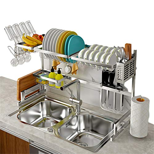 The sink above the sink dish rack is 33.5' long, adjustable large cupboard, stainless steel expandable storage rack, kitchen dish rack above the sink, cutlery rack