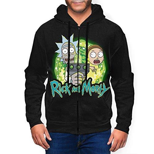 LINGJIE Men's Hoodie with Hat Rick Cool Mor-TY Zip-Up Sweatshirt Sport Hoodies Youth Pocket Fleece