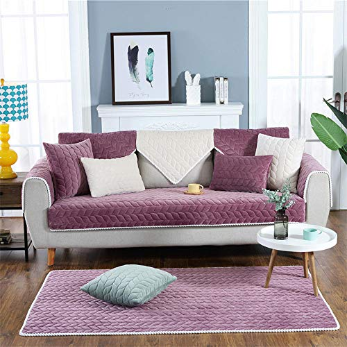 NLNL Sofa Cover Full size Modern And Simple Autumn and Winter Sofa Cushion Thick And Comfortable Plush Sofa Cushion Cushion Cover-Purple_110*210CM