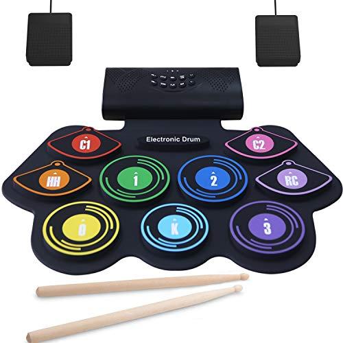Elektronisches Schlagzeug Set 9 Pads Tragbare Roll Up Midi Tabletop MIDI Schlagzeug Set mit Eingebautem Lautsprecher Drum Fußpedal Drumsticks für Kinder Anfänger