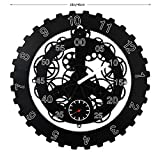SHISEDECO Large Gear Wheel Hour Wall Clock-Premium Plastic,3D Moving Gear Wall Clock,Perfect for Living Room, Reading Room, Restaurant, Office Decor(Full Range Available) (C-Black)