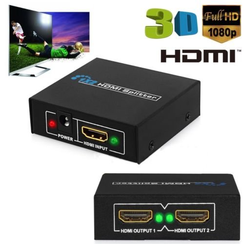 1 IN 2 OUT POWERED HDMI 1080P Splitter Versterker Voor PS3 xbox HDTV met USB-voedingskabel