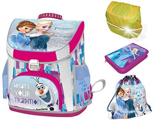 Disney Eiskönigin Frozen Schulranzen Mädchen 1 Klasse Tornister Schulrucksack Schultasche Set 4 teilig für Grundschule super leicht ergonomisch und anatomisch