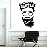 jtxqe Friseur Friseursalon Friseur Friseur Mann Muster Friseur Glastür Wandtattoo Spruch DIY Wallpaper Wohnzimmer Schlafzimmer Wohnkultur Wandaufkleber 42X26Cm
