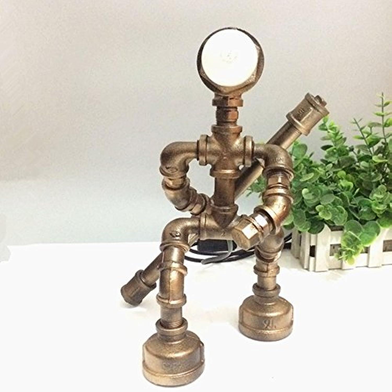 Pointhx Loft Industrial Vintage Wasserpfeife Roboter Tischlampe Schreibtischlampe Antik Steampunk Schmiedeeisen Tischleuchte Schlafzimmer Nachttischlampe Edison Nachtlicht