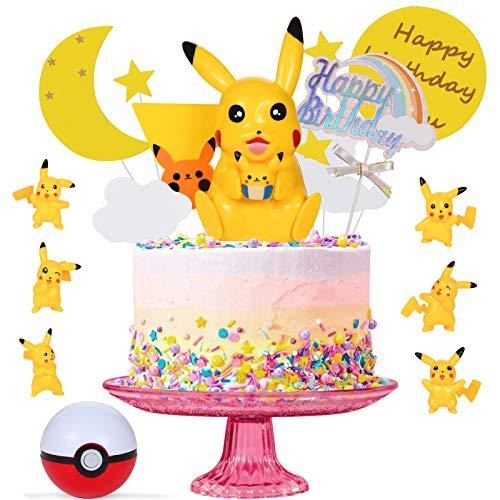 10pcs Happy Birthday Cake Topper Kit , Figurine Mariage, Deco Gateau Anniversaire, Pikachu Thème Fête Gâteau Décoration Enfants Gâteau d'anniversaire avec Magnifiquement Figurine pour Garçon et Fille