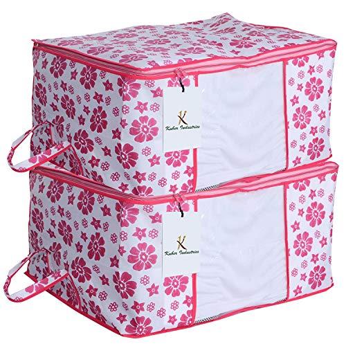 Kuber Industries 2 Piece Non Woven Storage Organiser, X-Large, Pink
