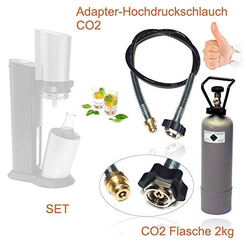 Voordeelset: CO2 adapter-hogedrukslang 2,5 m + 2 kg inhoud fles CO2 geschikt voor bruiswaterapparaten Sodastraam Crystal, Pinguin etc. Tot 350 liter spuitwater per vulling! CO2 slang overvullen.