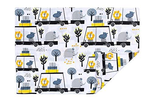PULP Baby Kissenbezug Kissenhülle 40 x 60 cm mit Reißverschluss aus 100% Baumwolle (Tiere und Autos)