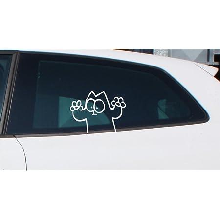 Ms Car Sticker Lustige Katze Für Zb Heckscheibe Seitenscheibe Usw Für Innen Gespiegelt Oder Aussenverklebung Erhältlich Weiss Glänzend Innenverklebung Auto
